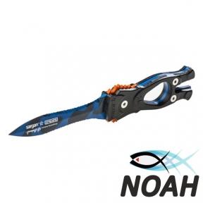 Нож SARGAN Сталкер-Стропорез Z1 с покрытием синий камуфляж для подводной охоты