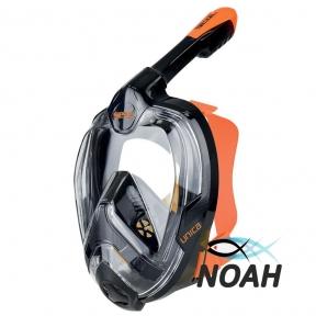 Маска полнолицевая Seac Sub Unica для плавания, черно-оранжевая