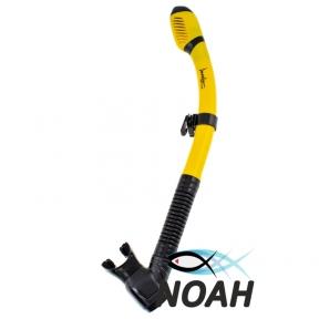 Трубка двухклапанная Marlin Dry Flap прямая гофра для плавания, цвет желтый