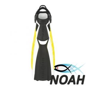 Ласты Aqua Lung Phazer с открытой пяткой ля дайвинга (бело-жёлтые)