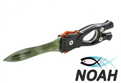 Нож SARGAN Сталкер-Стропорез Z1 с покрытием зеленый камуфляж для подводной охоты