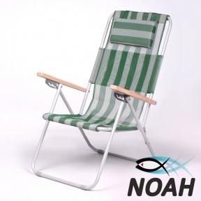 Кресло-шезлонг Ясень d20 мм текстилен бело-зелёный (7133)